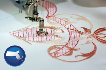 machine embroidery - with Massachusetts icon
